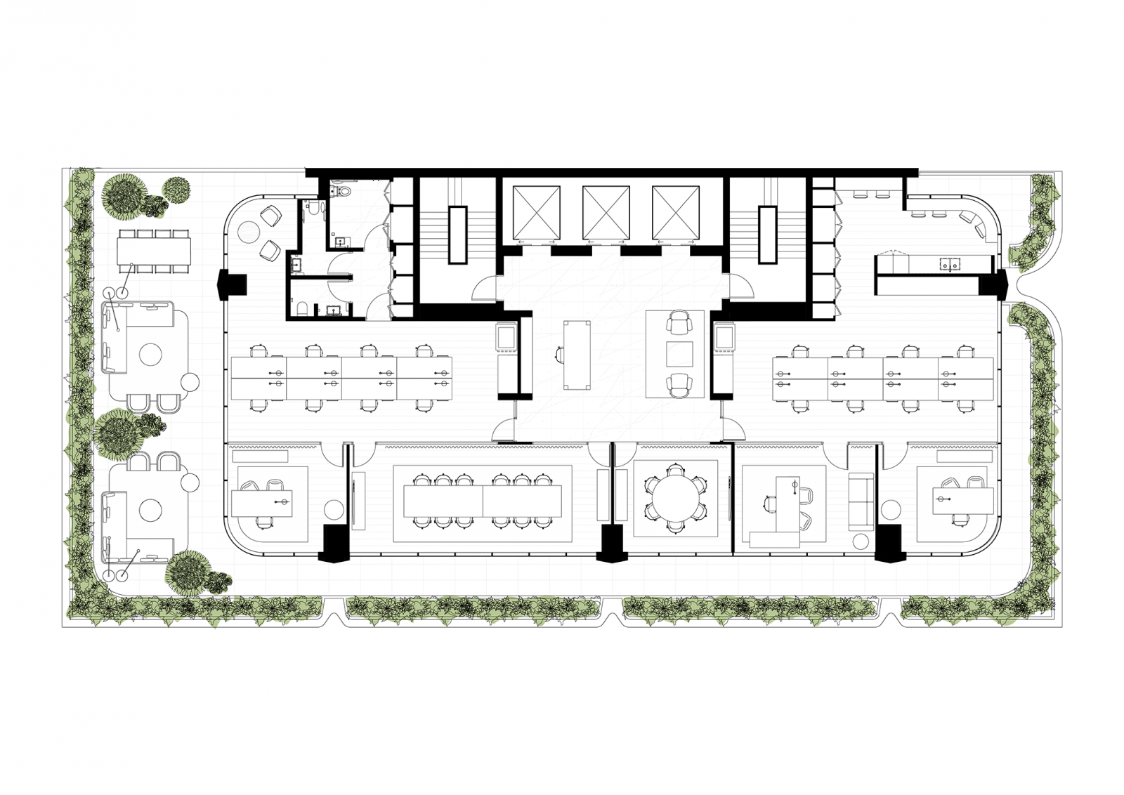 Tower floorplan, level 8 with landscaped terrace, single tenancy, 1:10 population density ratio