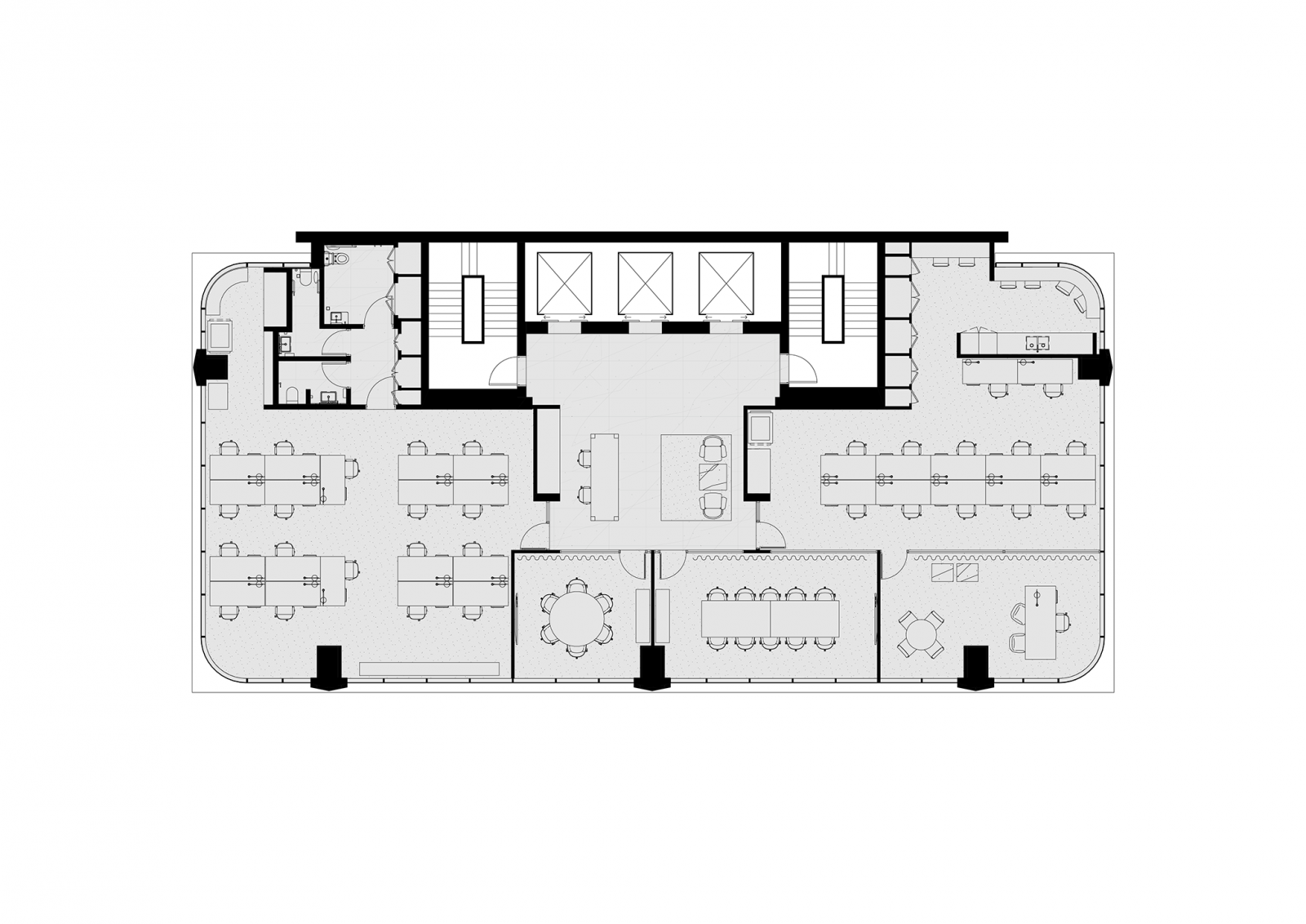 Tower floorplan, levels 10, 12, 13, 14, 16, 17 & 18, single tenancy, 1:10 population density ratio