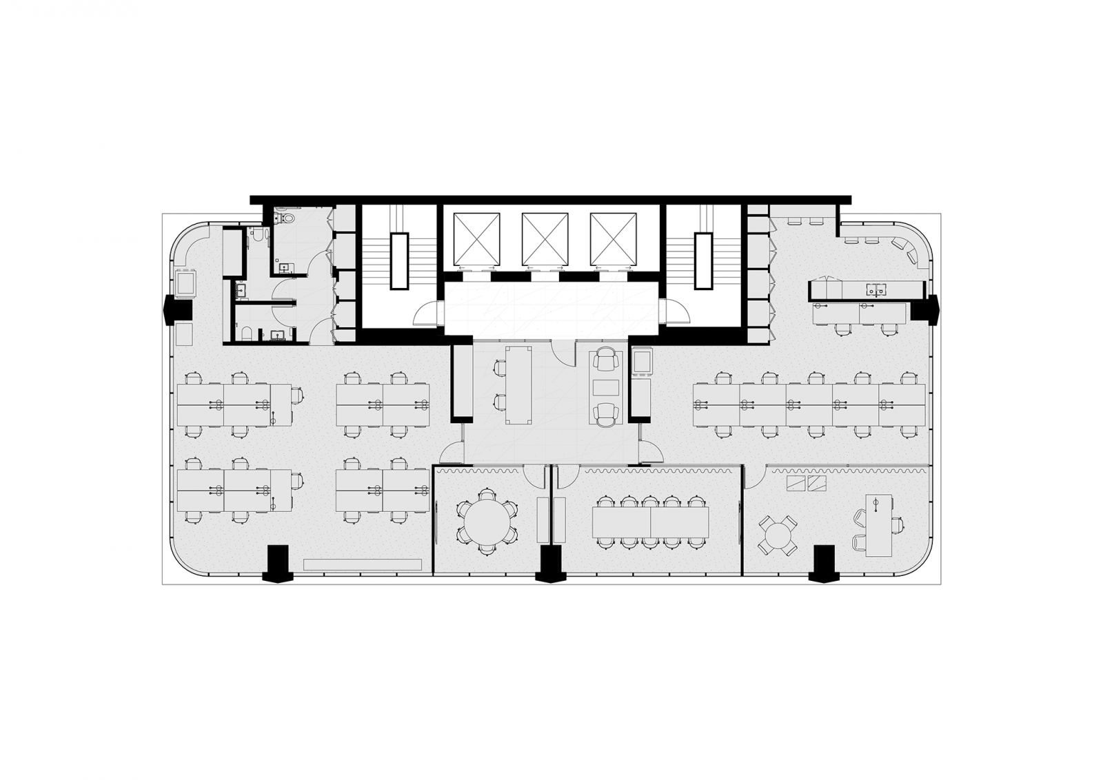Tower floorplan, levels 9, 11, 15 & 19, single tenancy, 1:10 population ratio